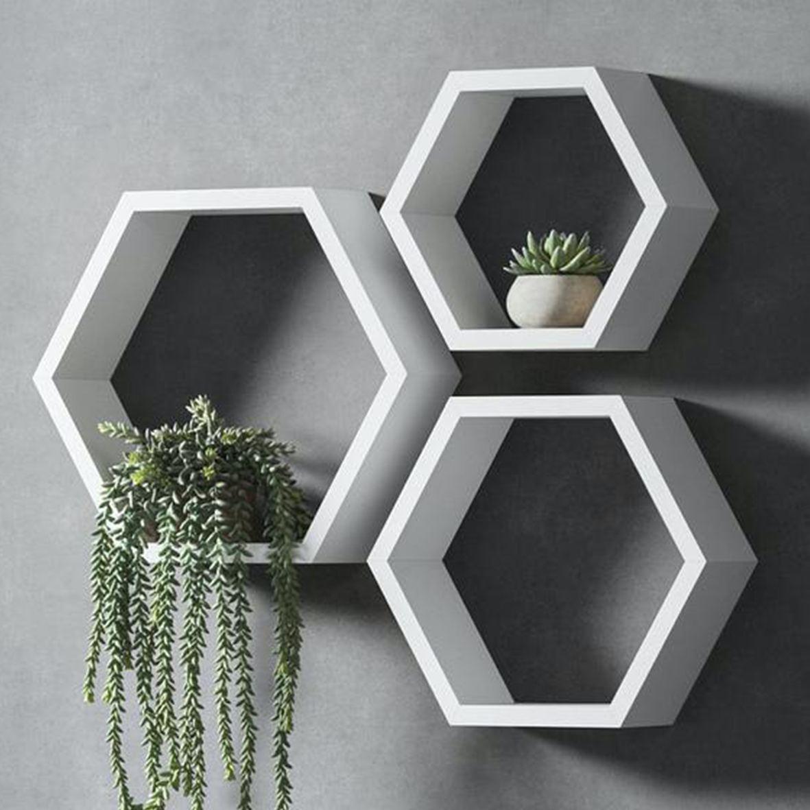 Rak Dinding Hexagonal Minimalis Modern